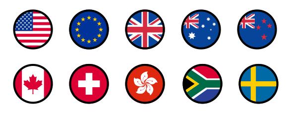 米ドル、ユーロ、英ポンド、豪ドル、NZドル、カナダドル、スイスフラン、香港ドル、南アランド、スウェーデンクローナ