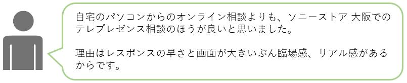 自宅のパソコンからのオンライン相談よりも、ソニーストア 大阪でのテレプレゼンス相談のほうが良いと思いました。理由はレスポンスの早さと画面が大きいぶん臨場感、リアル感があるからです。