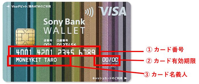 デビットカード(1)カード番号 (2)カード有効期限 (3)カード名義人